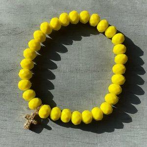 Handmade Yellow Bracelet with Cross Charm